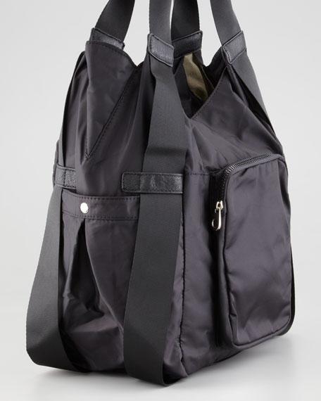 Haylee Nylon Hobo Bag, Black