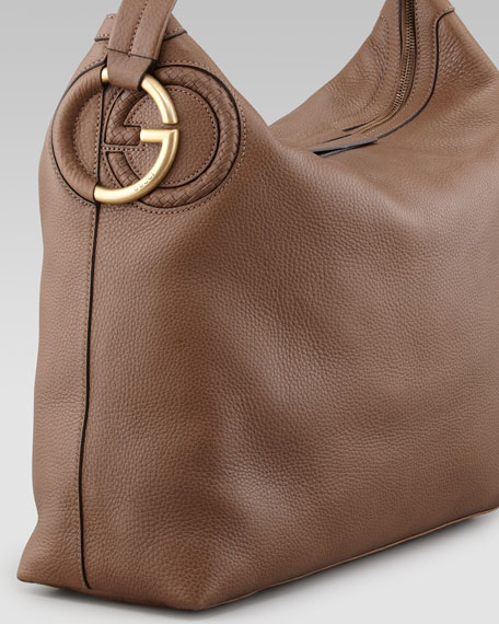 Large Twill Leather Hobo Bag, Medium Brown
