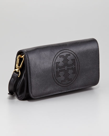 Perforated Small Logo Clutch Bag, Black
