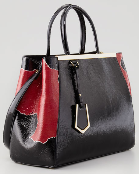 2Jours Calfskin Tote Bag, Black/Red