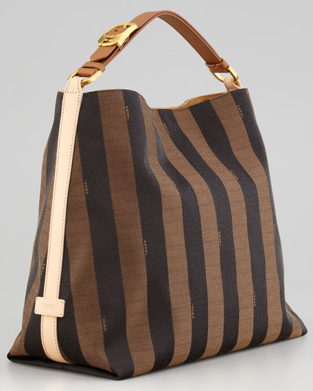 Fendi Pequin-striped Medium Hobo Bag