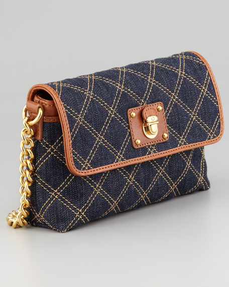 Single Quilted Denim Crossbody Bag