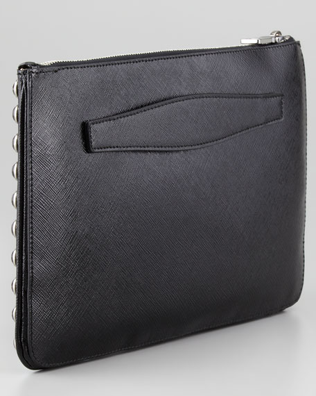 Vernice Saffiano Crystal-Studded Clutch Bag, Nero