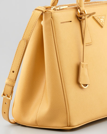 Saffiano Small Double-Zip Executive Tote Bag, Pale Yellow