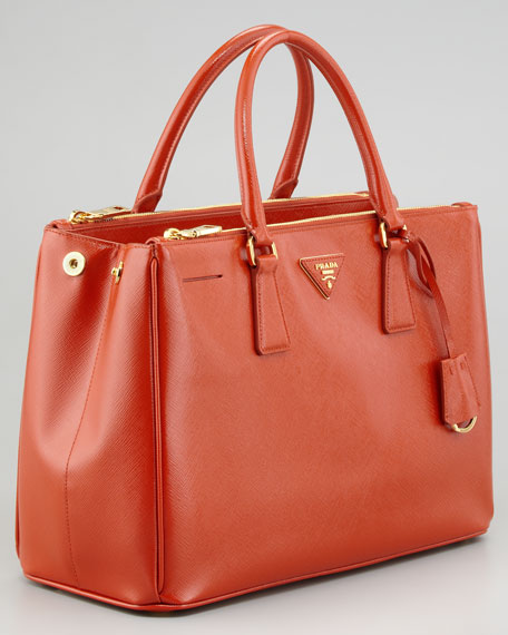 Saffiano Vernice Small Tote Bag, Dark Orange
