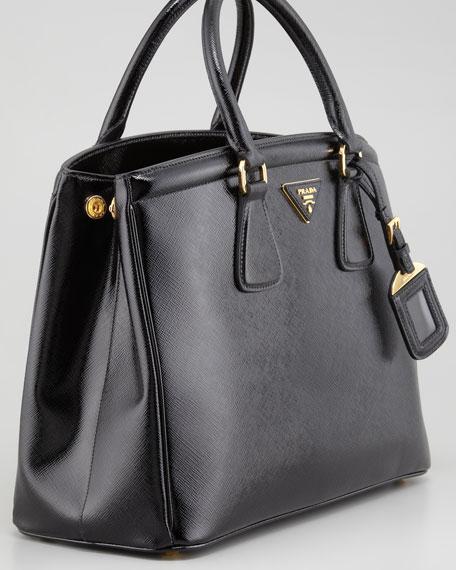 Saffiano Vernice Parabole Tote Bag, Black