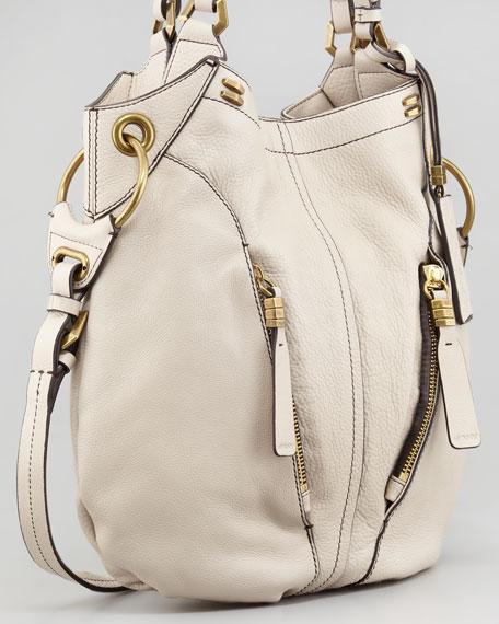 Gwen Leather Shoulder Bag, Bone