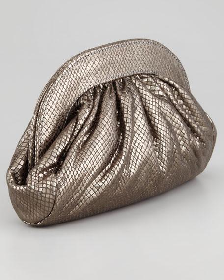 Vivi Snake-Embossed Clutch Bag, Gunmetal