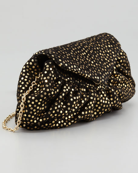 Diana Metallic Clutch Bag, Black/Gold
