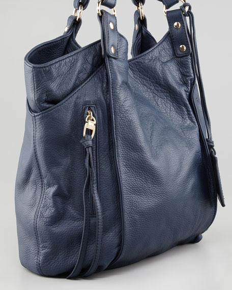 Logan Leather Tote Bag, Navy
