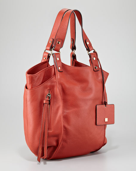 Logan Leather Tote Bag, Coral