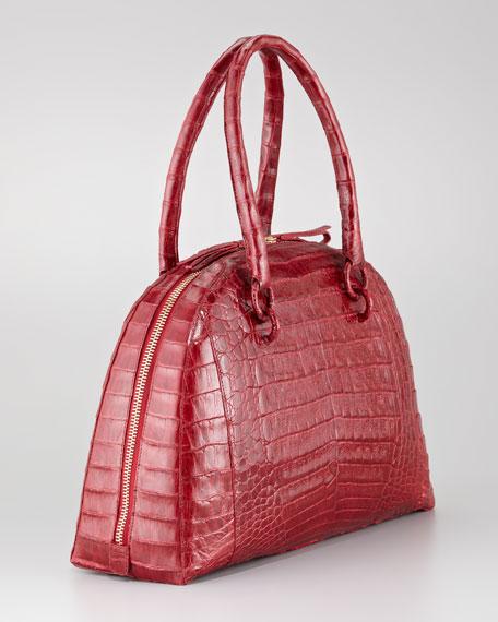 Crocodile Medium Bowler Bag, Red