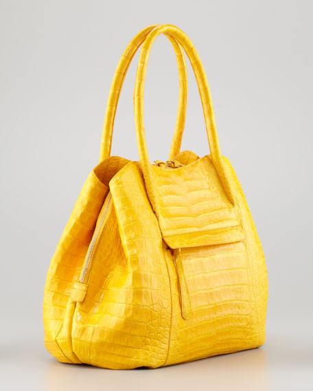 Compartmentalized Crocodile Tote Bag, Marigold