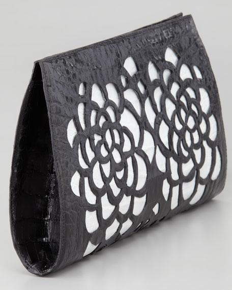 Laser-Floral Slicer Crocodile Clutch Bag