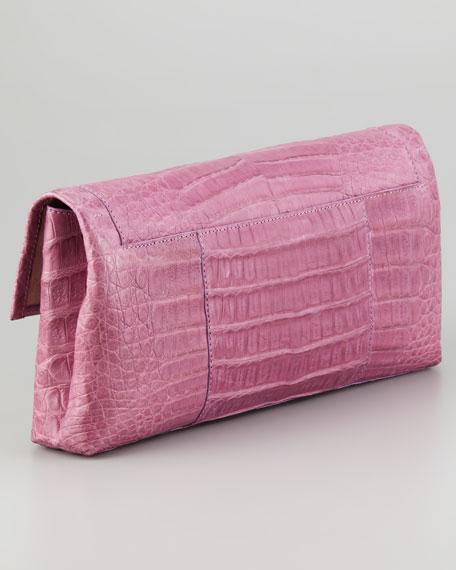 Soft Flap Crocodile Medium Clutch Bag, Lilac