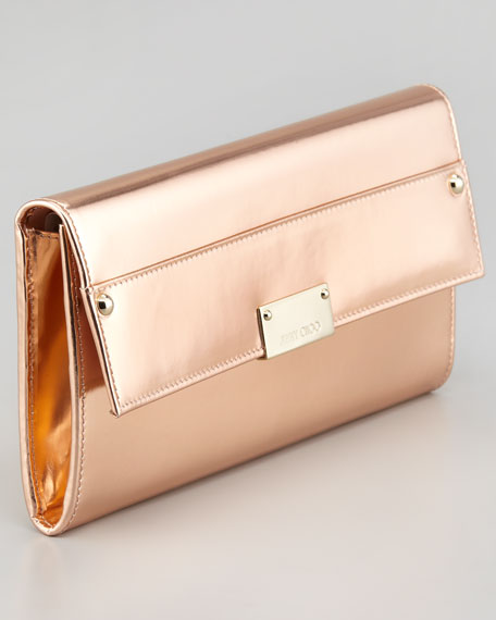 Reese Metallic Leather Wallet Clutch Bag, Blush