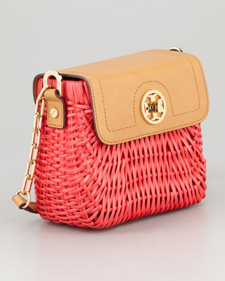 Lacquered Rattan Basket Shoulder Bag, Flame Red
