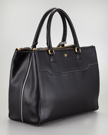 Eva Leather Tote Bag, Black