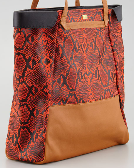 Nixie Tote Bag, Brown/Red
