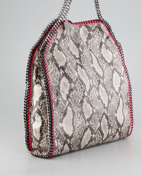 Falabella Large Snake-Print Tote Bag, Gray