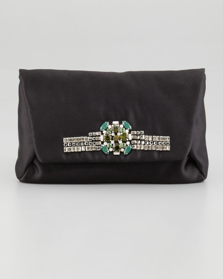 Mai Tai Satin Evening Clutch Bag, Black