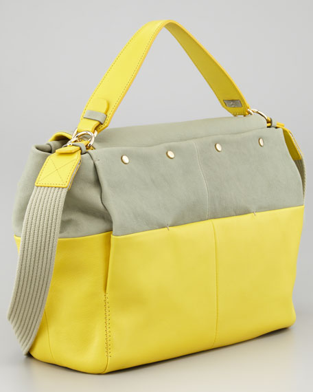 For Me Double Carry Medium Handbag, Sea Green/Yellow