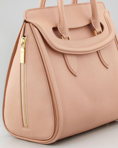 Heroine Medium Leather Satchel Bag, Blush