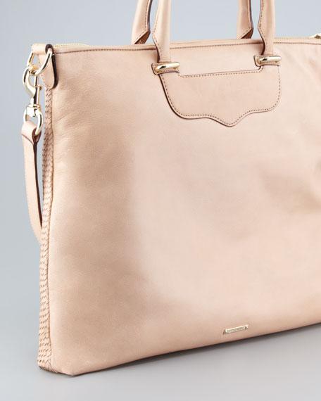 Bonnie Box Woven Leather Satchel Bag, Sand