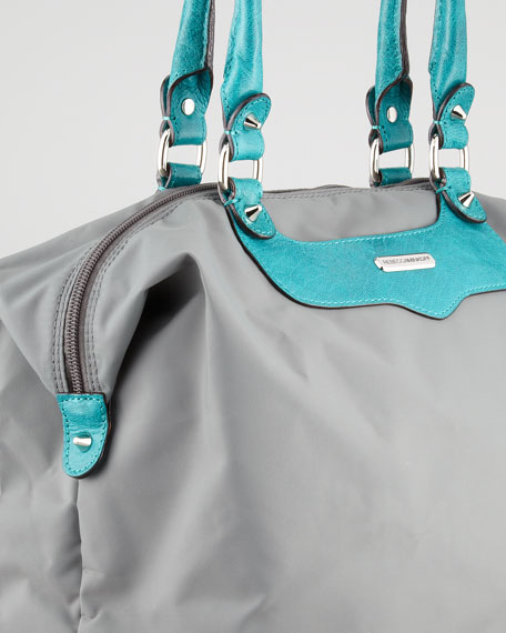 Studded Travel Tote Bag, Turquoise