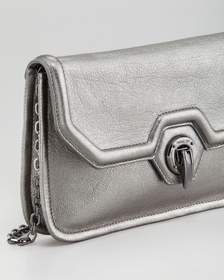 Eve Clutch Shoulder Bag, Pewter