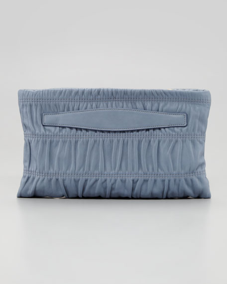 Napa Gaufre Small Clutch Bag, Light Blue