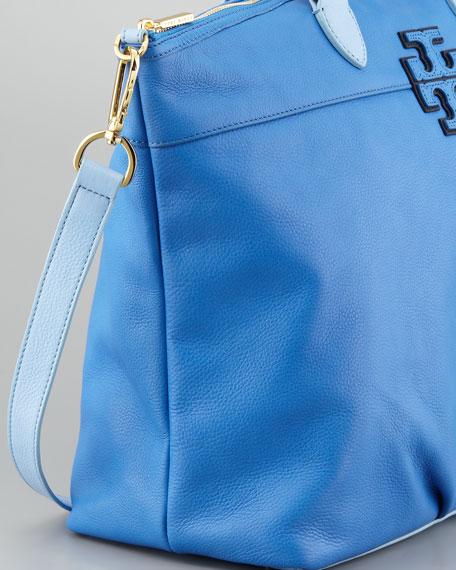 Stacked T Leather Satchel Bag, Ocean Blue