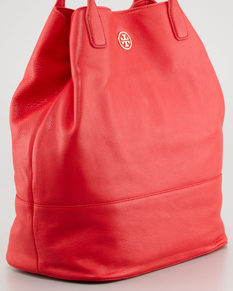 Michelle Pebbled Leather Tote Bag, Lobster Red