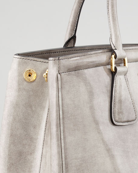 Large Double-Shoulder Tote, Gray