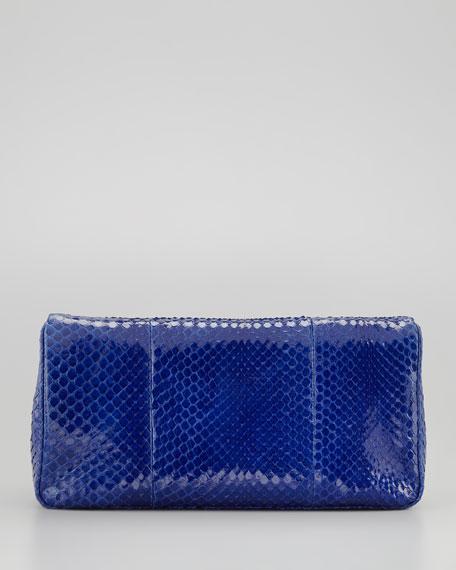 Medium Anaconda Fold-Over Clutch Bag, Cobalt Blue