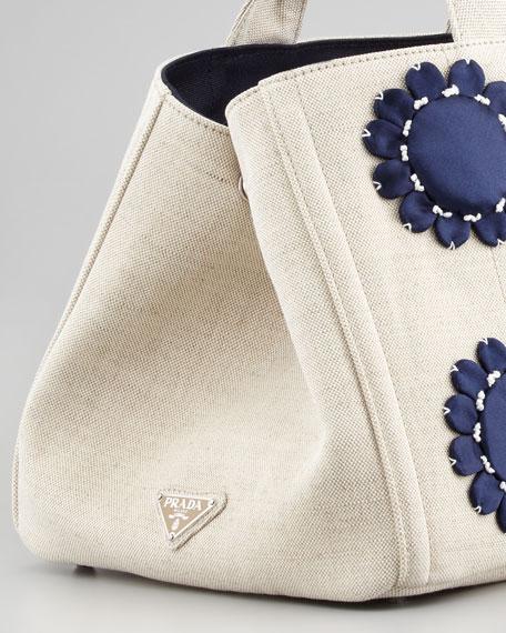 Large Floral-Applique Gardener's Tote Bag, Navy