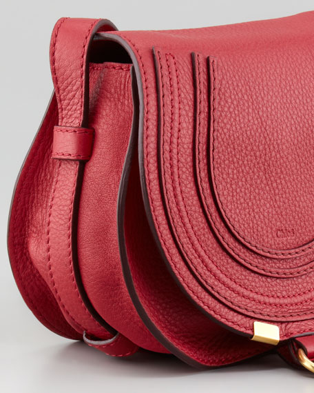 Marcie Mini Saddle Bag, Peony Red