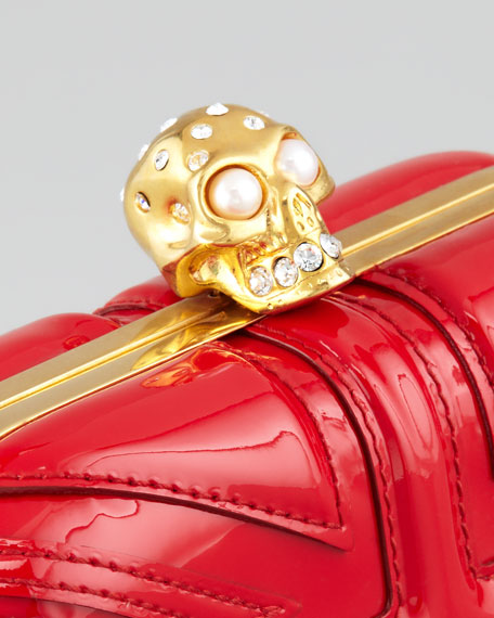 Britannia Skull-Clasp Clutch Bag, Red