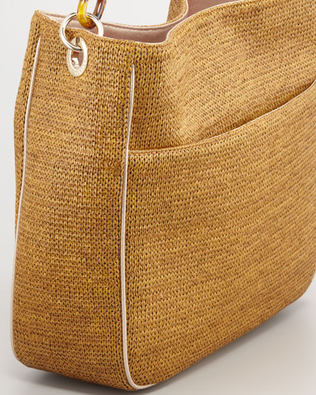 Caitlin Raffia Hobo Bag, Tobacco