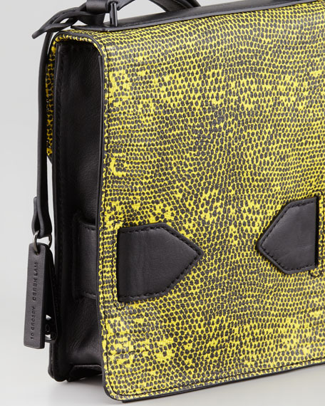 Lizard Embossed Folio Crossbody Bag, Yellow