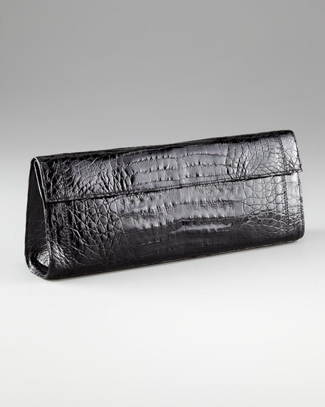Crocodile Flap Clutch, Large