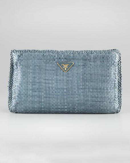 Medium Zip-Top Woven Frame Clutch Bag