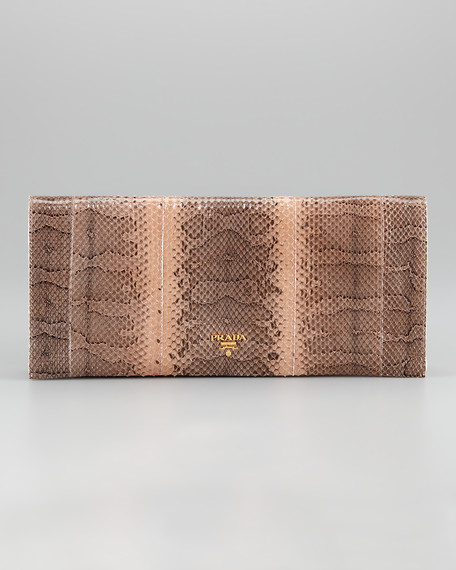 Snakeskin Medium Flap Clutch Bag