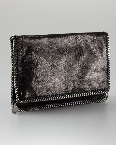 Metallic Faux Leather Falabella Fold-Over Clutch Bag
