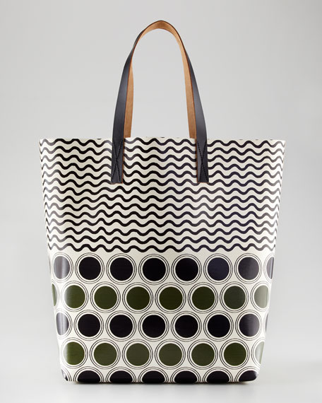 Graphic Dots Tote Bag, Brown