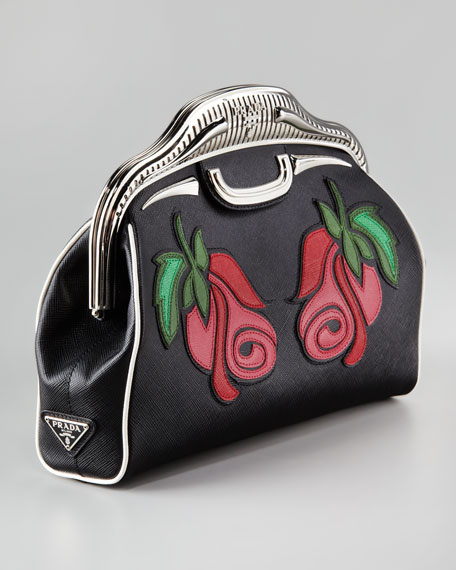 Double Rose Saffiano Clutch Bag