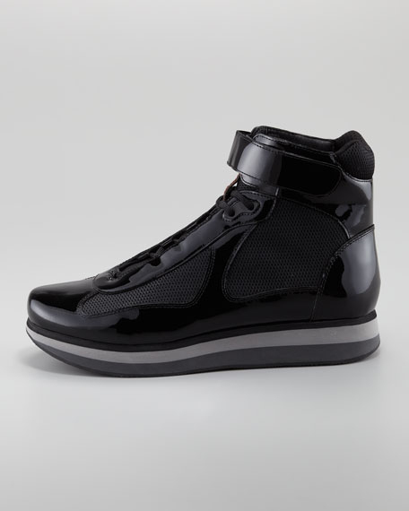 High-Top Patent Lace-Up Sneaker, Black