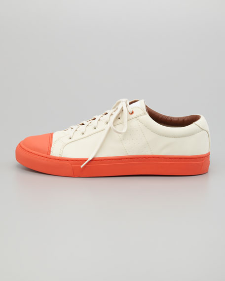 Fabio Lace-Up Sneaker, Off White/Orange