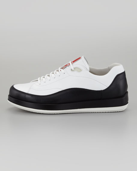 Leather Lace-Up Sneaker, White/Black