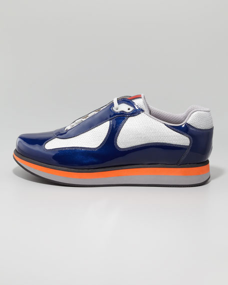 Patent Leather Sneaker With Colored Micro Sole